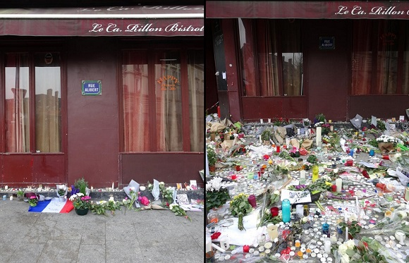 Le Carillon, attack site-cum-memorial Nov. 14 and Nov. 16, 2015. Photo GLKraut