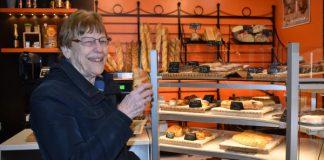 Donna Evleth and croissant, Boulangerie Delattre