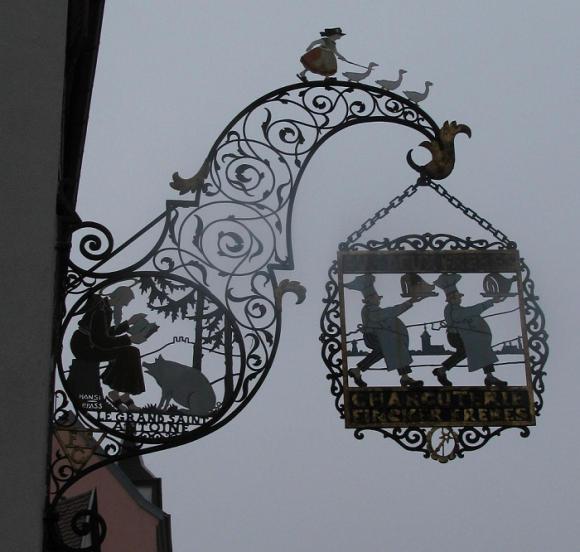 Charcuterie (deli) shop sign in Colmar. Photo GLK.