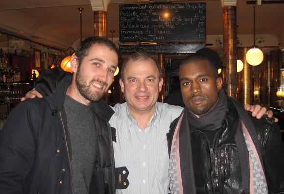 Thomas Bangalter (Daft Punk), Paul Racat and Kanye West at La Poule au Pot