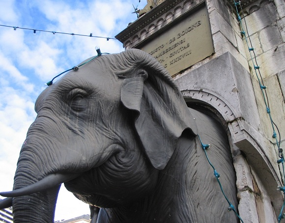 One of four elephants on the Fountain of Elephants, Chambery. Photo GLKraut.