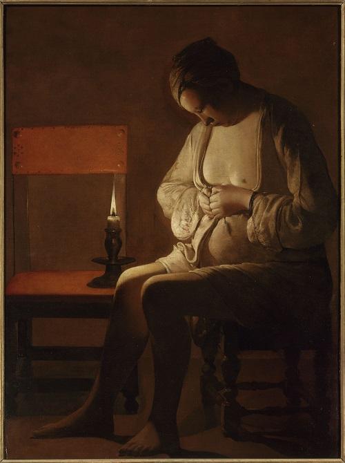 La Femme à la puce (1638), Georges de la Tour. Nancy, Musée Lorrain.