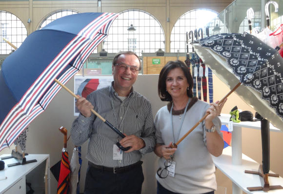 Dominique and Dora Vaux of Pierre Vaux umbrellas and parasols.